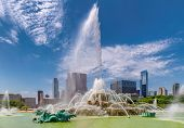Chicago Skyline And Buckingham Fountain At Summer Sunny Day, Chicago, Illinois, Usa. poster