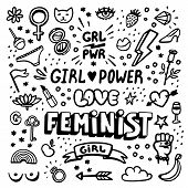 Feminism Symbols Icon Set. Feminist Movement, Protest, Girl Power. Black And White Vector Illustrati poster