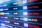 Selective Focus To Display Flight Information Board In International Airport poster