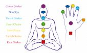Body And Hand Chakras Of A Man - Illustration Of A Meditating Male In Yoga Position With The Seven M poster