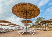 Resting And Recreational Area In Central Beach Of Eilat - Famous Tourist Resort And Recreation City  poster