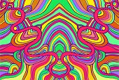Psychedelic Colorful Surreal Doodle Waves Pattern. Fantastic Ornamental Wavy Background. poster