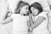 Good Night And Healthy Sleep. Little Girls Have A Good Night In Bedroom. Little Girls Have Healthy S poster