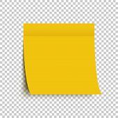 Yellow Post Note Sticker. Sticky Note. Yellow Sticker With Shadow On Transparent Background poster