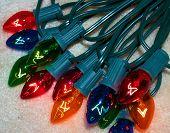 stock photo of christmas lights  - set of lit christmas lights - JPG