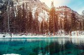 Winter Snow Lake In Mountains. Snow Winter Mountain Lake Valley Landscape. Winter Snow River In Wint poster