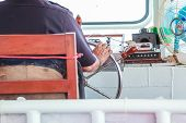 Navigator (helmsman) Is Responsible For Position Of Ferry Boat By Controlling Steering Wheel (helm,  poster