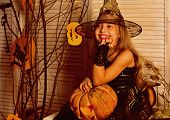 Small Girl Happy Smile On Halloween. Small Girl Wear Halloween Costume. Dress Up And Go Celebrate Be poster