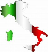 Italy Map With Flag Inside - Illustration,  Italy Vector Image poster