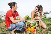Happy Couple With Their Dog Gathering Fresh Fruits And Vegetables From Their Garden House - Farmer Y poster