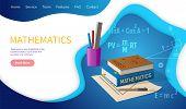 Mathematics Algebra And Geometry School Discipline Vector. Education In University, Books And Suppli poster