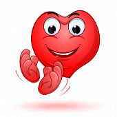 Smiling Heart Claps His Hands With Joy. Joyful Anthropomorphic Cartoon Heart. Vector Illustration poster