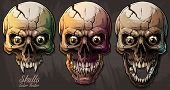 Detailed Graphic Realistic Cool Colorful Human Skulls With Sharp Canines, Crazy Eyes And Cracks. On  poster