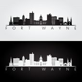Fort Wayne Usa Skyline And Landmarks Silhouette, Black And White Design, Vector Illustration. poster