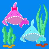 Blue Baby Shark Boy And Pink Baby Shark Girl. Cartoon Fish Character Isolated On Light Background. S poster