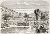 Military concert in the Royal Palace park, Paris. Created by Provost, published on L'Illustration, J