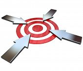 Four opposing arrows approach a bullseye target from 4 different directions in competition to be fir