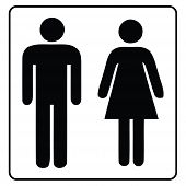 Washroom Sign,restroom Icon In White Background Drawing By Illustration,male Washroom Sign And Femal poster