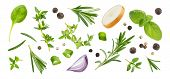 Different Spices And Herbs Isolated On White Background, Top View poster