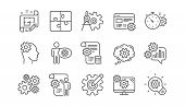 Engineering Line Icons. Puzzle, Dividers Tool And Architect Plan. Engineer Linear Icon Set.  Vector poster