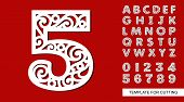 Number Five - 5. Full English Alphabet And Digits 0, 1, 2, 3, 4, 5, 6, 7, 8, 9. Lace Letters And Num poster