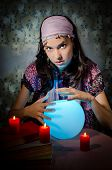 stock photo of fortune-teller  - Young woman playing fortune - JPG