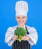 Dieting Concept. Eat Healthy. Girl Wear Hat And Apron Hold Vegetable. Healthy Ration. Woman Professi poster