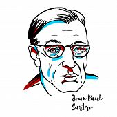 Jean-paul Sartre Engraved Vector Portrait With Ink Contours. French Philosopher, Playwright, Novelis poster