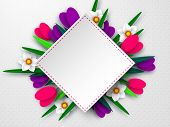 Spring Floral Composition. Empty Template For Greetings Or Seasonal Sales. Paper Cut Spring Flowers  poster