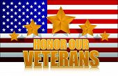 image of veterans  - us honor our veterans gold illustration sign design on white - JPG