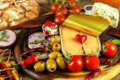 Canned Tuna On A Kitchen Table. Fish Cans And Vegetables. Food For Athletes. Tuna In Olive Oil. poster