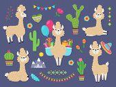 Cute Alpaca. Funny Cartoon Llama, Peru Baby Lamas And Cacti Flowers. Wild Alpacas Animals Vector Cha poster