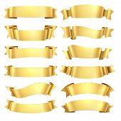 Golden Ribbons. Congratulations Banner Element, Yellow Gift Decorative Shape, Gold Advertising Scrol poster