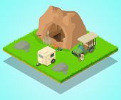 Research Of Cave Concept Banner. Isometric Banner Of Research Of Cave Vector Concept For Web, Giftca poster