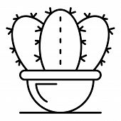 Botany Cactus Pot Icon. Outline Botany Cactus Pot Vector Icon For Web Design Isolated On White Backg poster