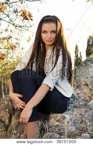 Young Brunette Woman, Outdoors Portrait