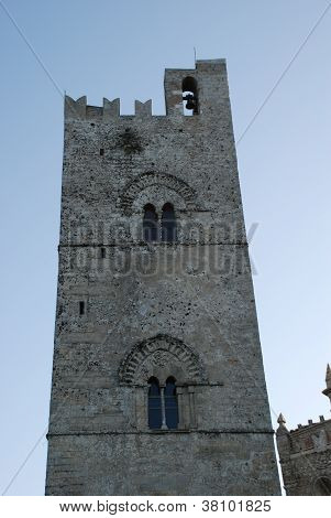 The steeple of the main church of Erice, Sicily, Italy