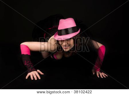 Girl In Dress With Hat Posing