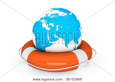Life Buoy And Earth Globe