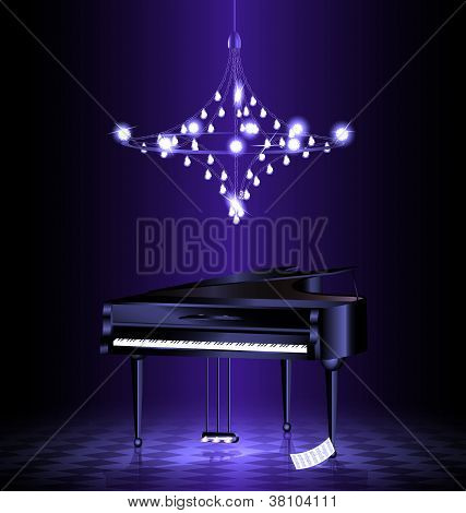 piano in the dark room