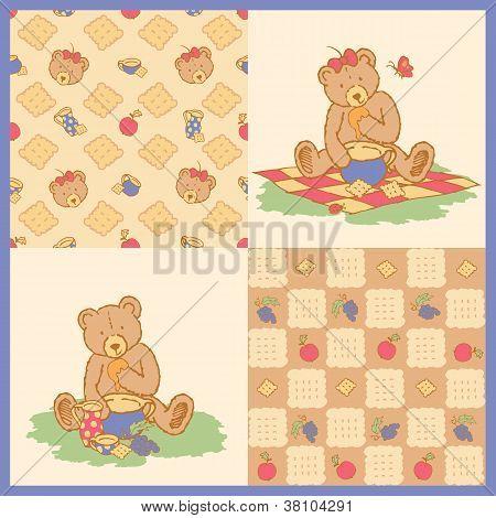 Drawn teddy bear with honey bowl