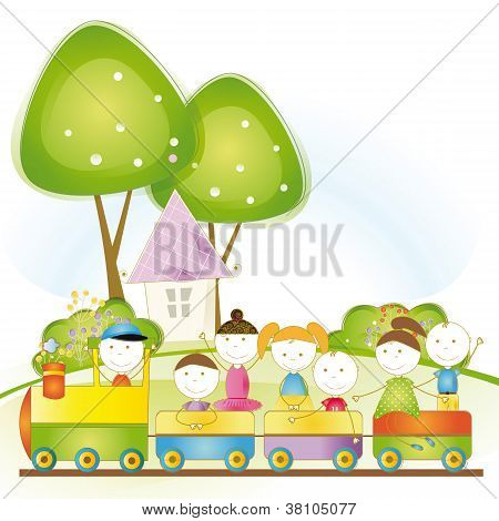 Happy Kids In Train