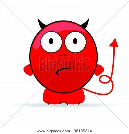 Sweet And Cute Devil Vector Illustration