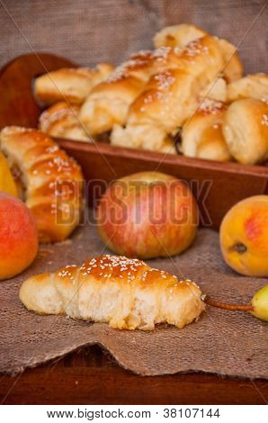 Bread Loafs And Fruit