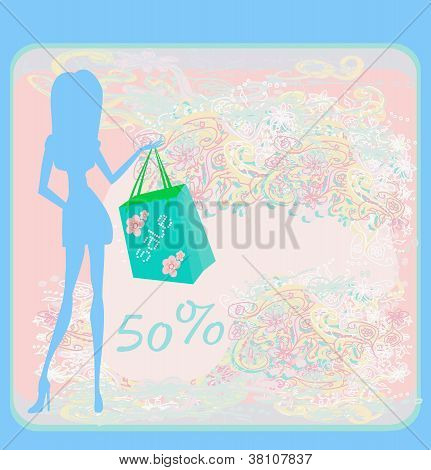 fashion silhouettes girl Shopping , vector illustration