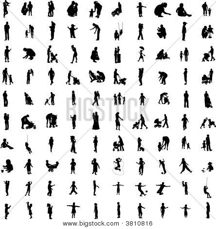 One Hundred Of Family Silhouette