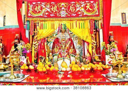 Tin Hau Tempel, Meer Göttin Statue und Altar, Stanley, Hong kong