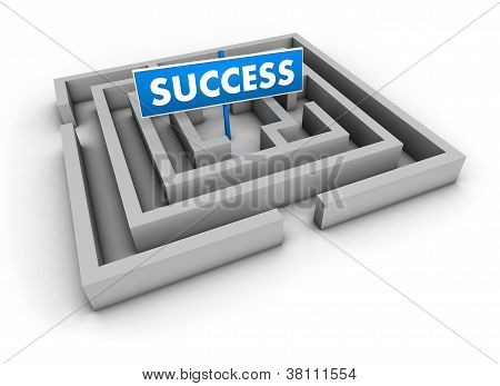 Concepto de éxito laberinto
