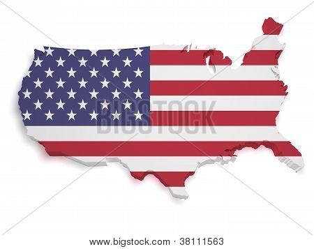 Usa Map 3D Shape
