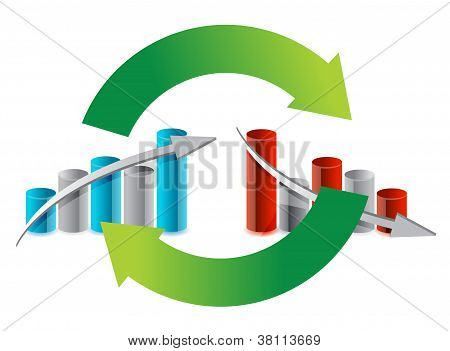 Up And Down Graph Cycle Illustration Design